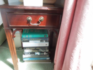 A stack of interesting books was on the floor next to self's bed in Ballyvolane House's Blue Room:  Self loves le Carré because he never phones it in.