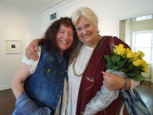 Janet Pierce with her friend, ceramic artist Ann McNulty, at the Hamilton Gallery in Sligo, where Janet's paintings are on exhibit until August 4.