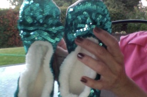 """""""Ballerina Bling"""" fleece-lined house slippers to prove you're not in Kansas anymore.  $14.99/pair at Vroman's."""