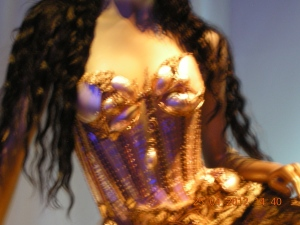 The intricacy of Gaultier's metallic bustier is beyond belief. Jaw-dropping.