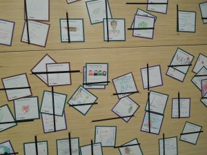 The cards were written by children responding to their favorite exhibits.