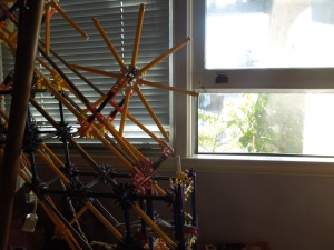 Son's Room in Redwood City is like a museum -- a museum of absence. He built this K'Nex structure when he was 9. Took him about an hour.