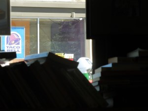 Boba Loca, Westwood Village, Saturday Afternoon:  The window facing the street is lined with bookshelves.