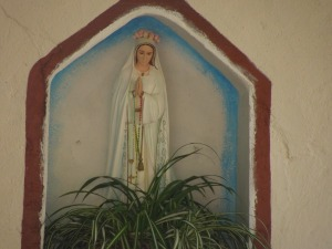 A statue of the Blessed Virgin In Mission San Gabriel