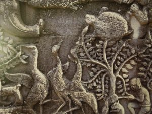 Detail of wall carving, Angkor Wat: Self was there in 2004.