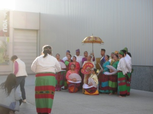 Philippine Dance Troupe posing for pictures in Yerba Buena Park, San Francisco, sometime 2012