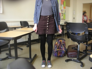 Skyline College, 2012: Spoke to a class. After, this student stayed to chat, and self just loved her get-up and asked if she could take a picture.