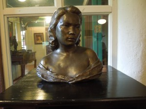 The first floor of the house has been turned into a kind of museum, filled with family memorabilia and art. Self has no clue who the model was for this bust, but if she were to take a guess, she'd say it was Abe Cruz's wife.