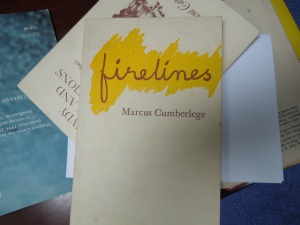 Fell in love with the poetry of Marcus Cumberlege when I ran across one of his collections at the Tyrone Guthrie Centre in Annaghmakerrig. Scoured all the bookstores in Dublin, but had to go to Kenny's in Galway to get their one used copy, a book called FIRELINES. Love.