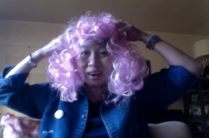 """Here's her """"Effie Trinket"""" wig, which admittedly is a pretty lame imitation . . ."""