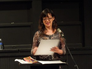 Angela Narciso Torres, poet, reading from her poetry collection, BLOOD ORANGE, at Beyond Baroque Literary Center in Venice Beach, CA, Nov. 2