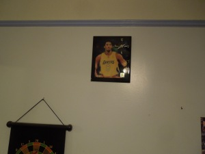 Staying in the Room of Connie's Son: There's a poster on the wall -- Kobe Bryant