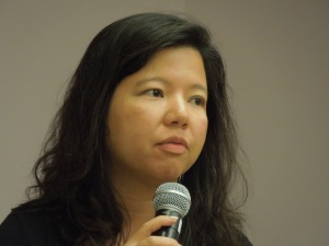 Poet Karen Llagas, reading in the San Francisco Main Library, October 2012