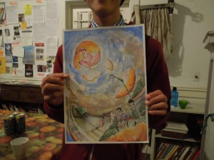 Angela Narciso Torres's son, Matthew, is an undergrad in a Fine Arts Program in USC. Here he is holding up a watercolor he made for the title poem of Angela's first book, BLOOD ORANGE.