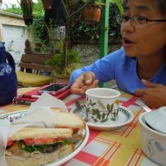 Having breakfast outside with Connie Ignacio Genato, friends since grade school in Manila