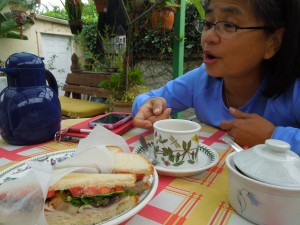 Having breakfast outside with Connie Ignacio Genato, best friends since grade school in Manila