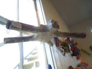 Love this mobile! This, as well as the pieces hanging on the walls, are paper maché pieces created by elementary school children in the Mendocino County public schools.