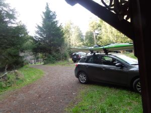 Mary Ellen Campbell's fabulous kayak (strapped to the top of her car) goes everywhere she goes.