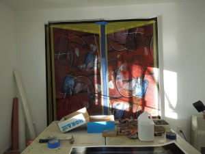 In Visual Artist Kim Thoman's Studio, Early Yesterday, at the Mendocino Art Center