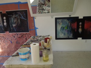 Visual Artist Kim Thoman's Studio at the Mendocino Art Center: Kim comes to Mendocino every January to work on her art.
