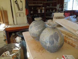 Four artists share this studio in the Mendocino Art Center. These pots were created by Mitch Iburg, who hails from Iowa.