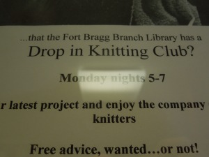 The flyer in Fort Bragg's Public Library