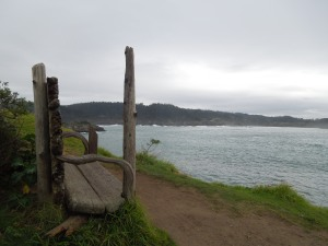 There's a path that follows the bluffs of the Mendocino Headlands. One morning, self walked there with a steaming cup of hot chocolate, and it was just heaven to find this bench.