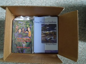 Self ordered more copies of her books. They arrived from the publisher last week.