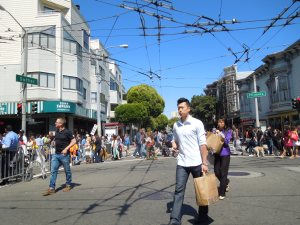 Fillmore Street (closed to traffic for the annual jazz festival), July 2014