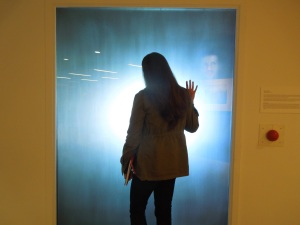 Poet Jami Macarty Doing the Interactive Installation in the Lobby of Sally Benson Bldg. in the Banff Centre
