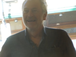 Greg Hollingshead, Director of the Banff Writing Studio, at Last Night's Reading in Wild Flour Artisan Bakery, Banff