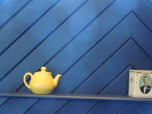 This teapot is yellow (duh). It's in her cottage at the Tyrone Guthrie Centre in Annaghmakerrig.
