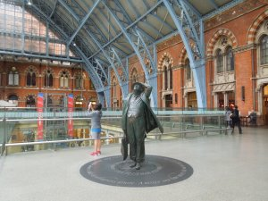 This appears to be a statue of Winston Churchill: London, June 2015