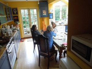Brunch with Jenny Lewis, Joan McGavin, Jennie's granddaughter Abigail, in Jenny's home in Oxford, UK