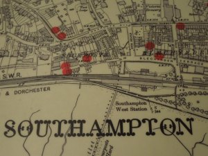 Floor Map of the City of Southampton, part of the Sea City Museum's Titanic Exhibit