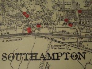 Floor Map of the City of Southampton, part of the Sea City Museum's Titanic Exhibit