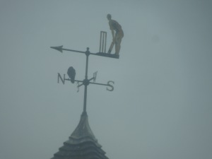 Cricket Player Weathervane, on top of a building on Whitechapel Road, near E. Aldgate, London