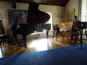 Xenia Pestova and Ed Bennett rehearsing a new piece at the Tyrone Guthrie Centre, this past summer