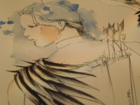 Katniss, page from Costume Designer's Sketch Book for The Hunger Games