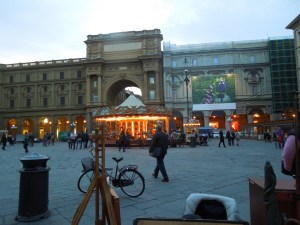 The Piazza next to Café Gilli, Florence: Self loves the carousel (which strangely had no riders)