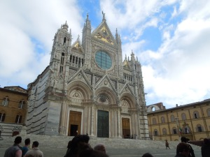 The Duomo of Siena is decorated with animals representing each of the city's 17 districts, which compete twice a year in horse races called the Palio.