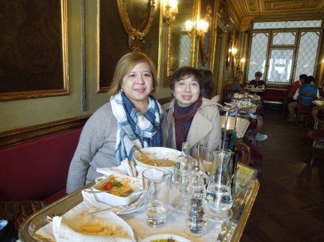 Self and Irene, Café Flor, San Marco Square, Venice: November, 2015